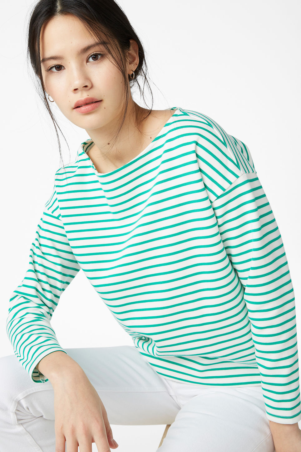 Model front image of Monki boat neck top in green