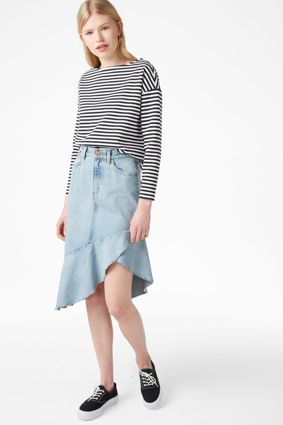 Model side image of Monki boat neck top in black
