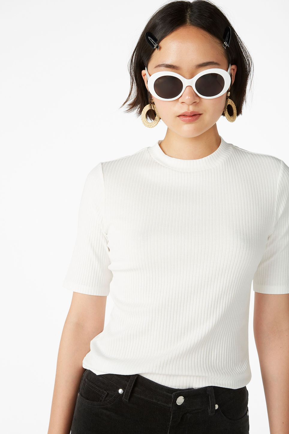 Model front image of Monki ribbed top in white