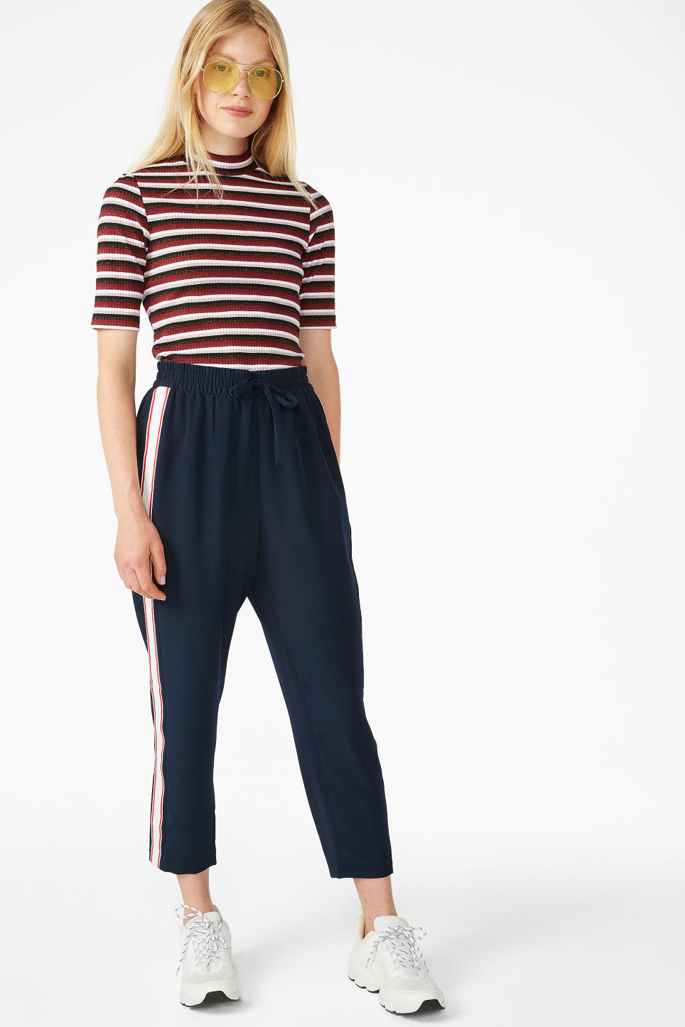 Model side image of Monki ribbed top in red
