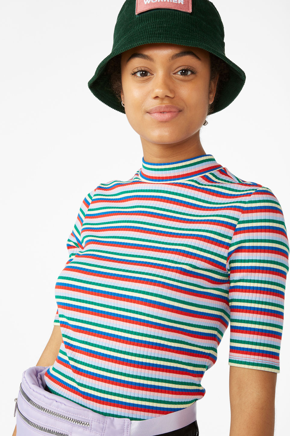 Model front image of Monki low turtleneck tee in pink