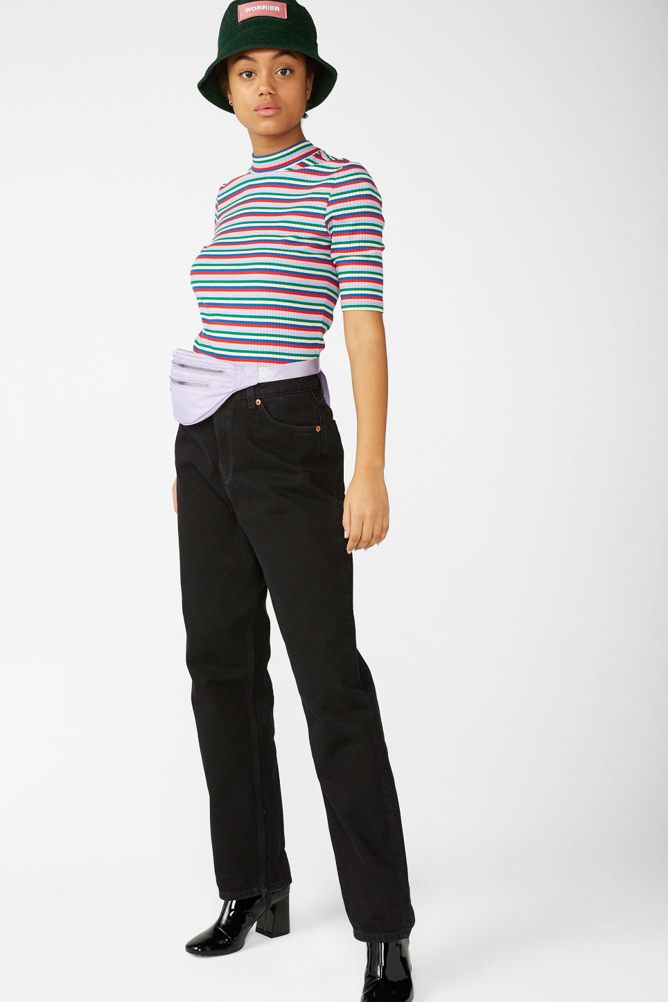 Model side image of Monki low turtleneck tee in pink
