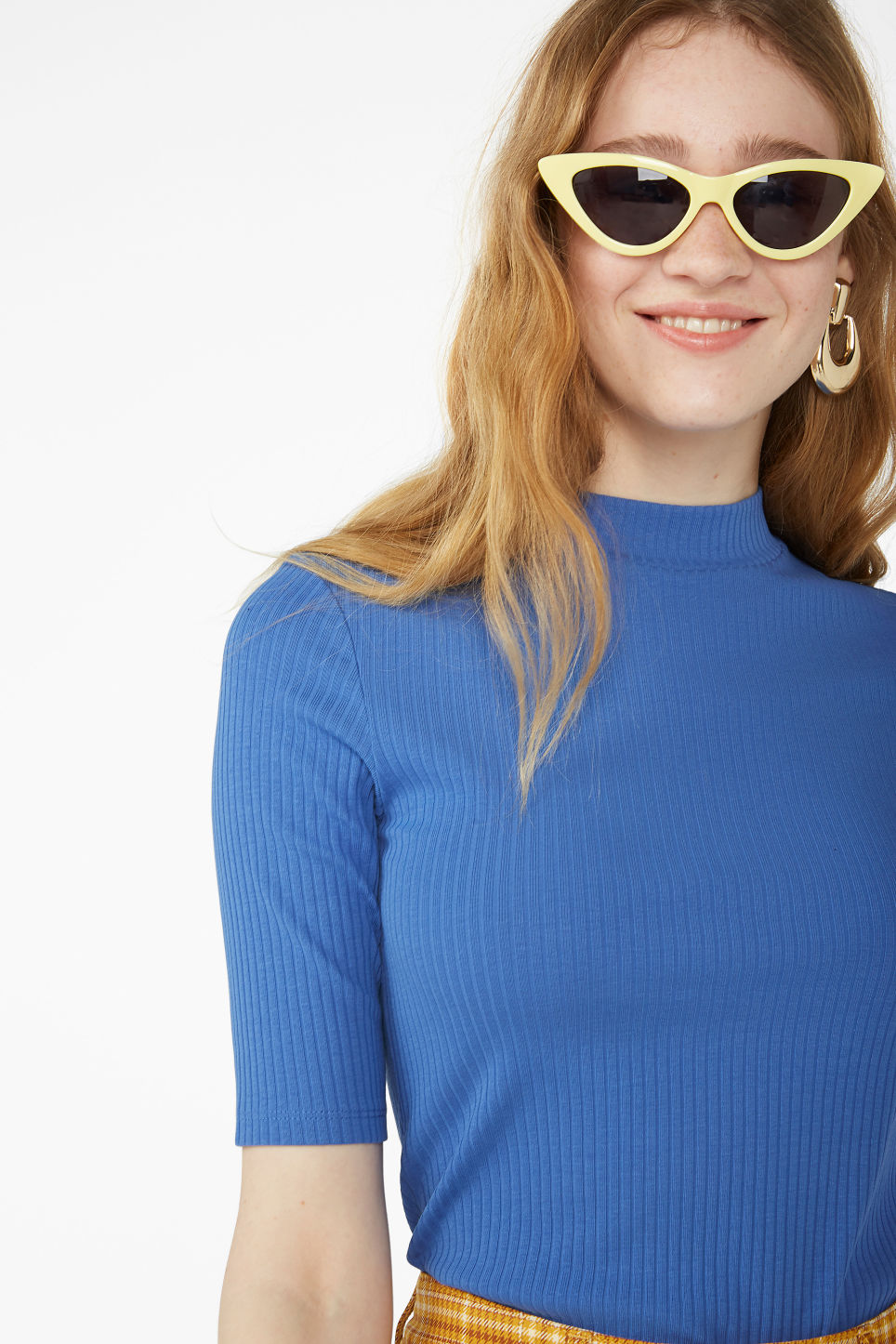Model front image of Monki low turtleneck top in blue