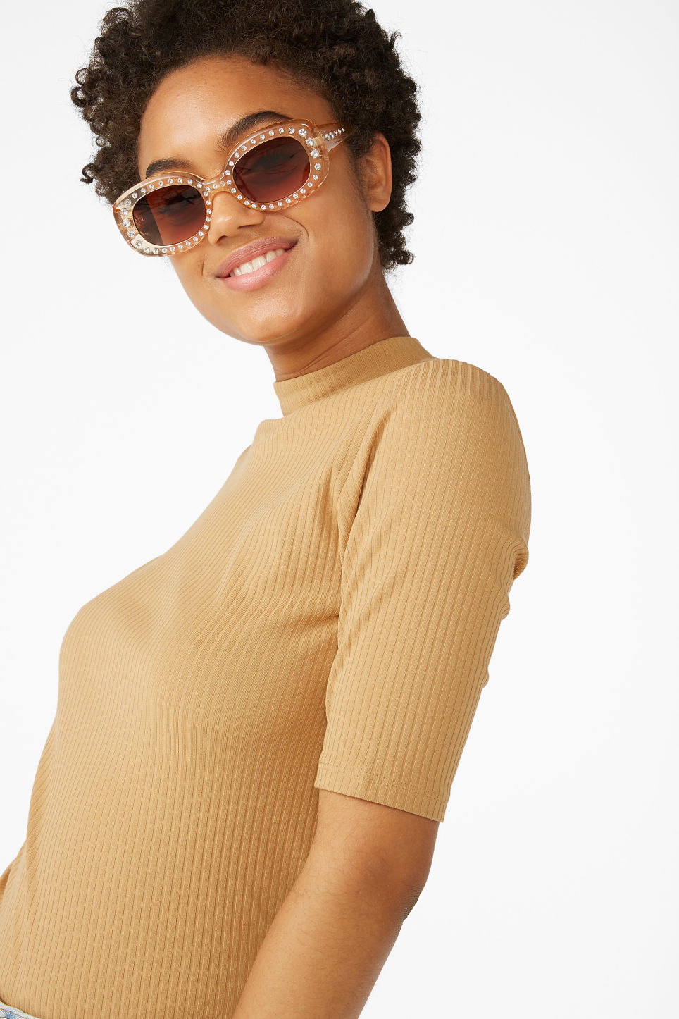 Model front image of Monki low turtleneck tee in yellow