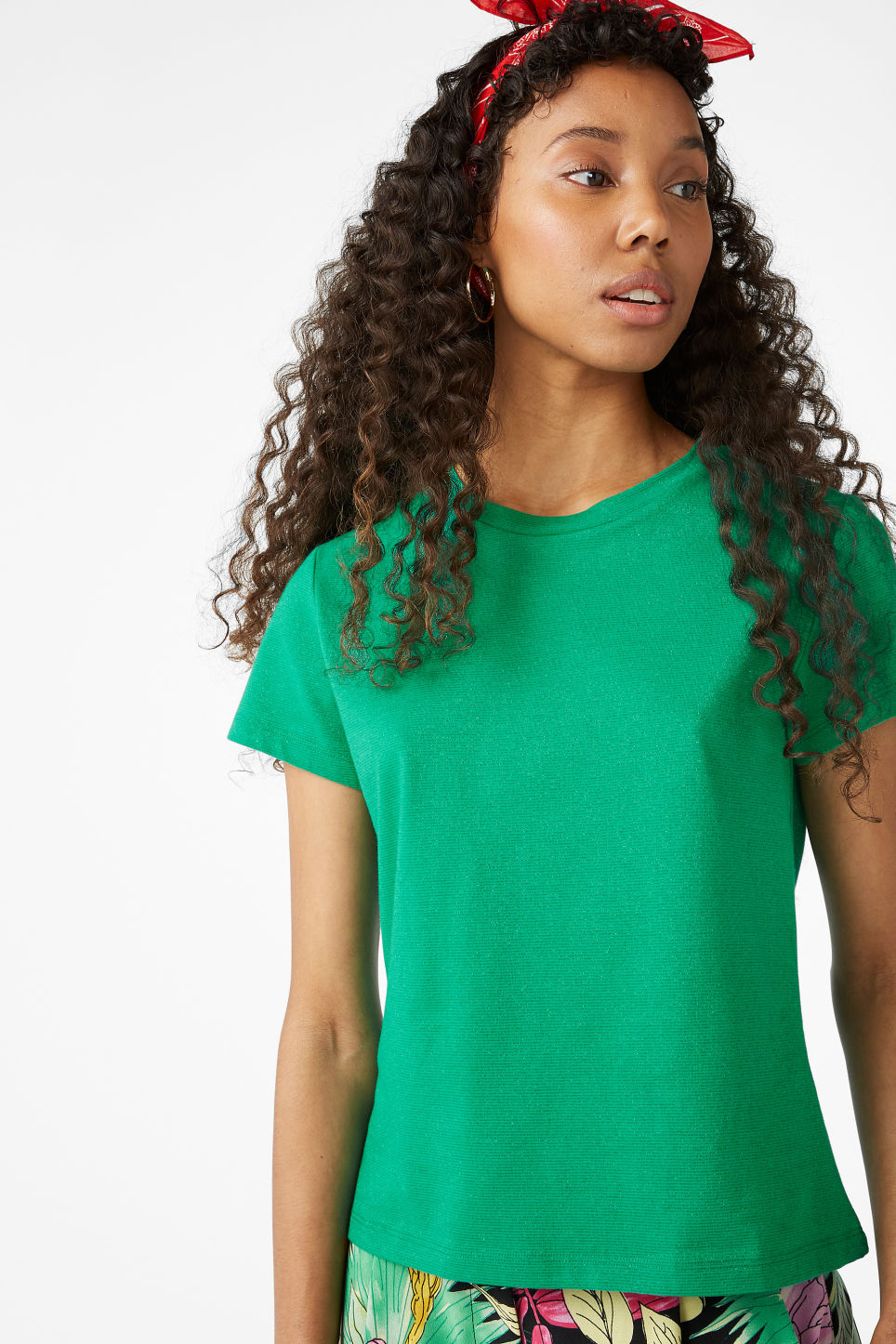 Model front image of Monki glitter tee in green