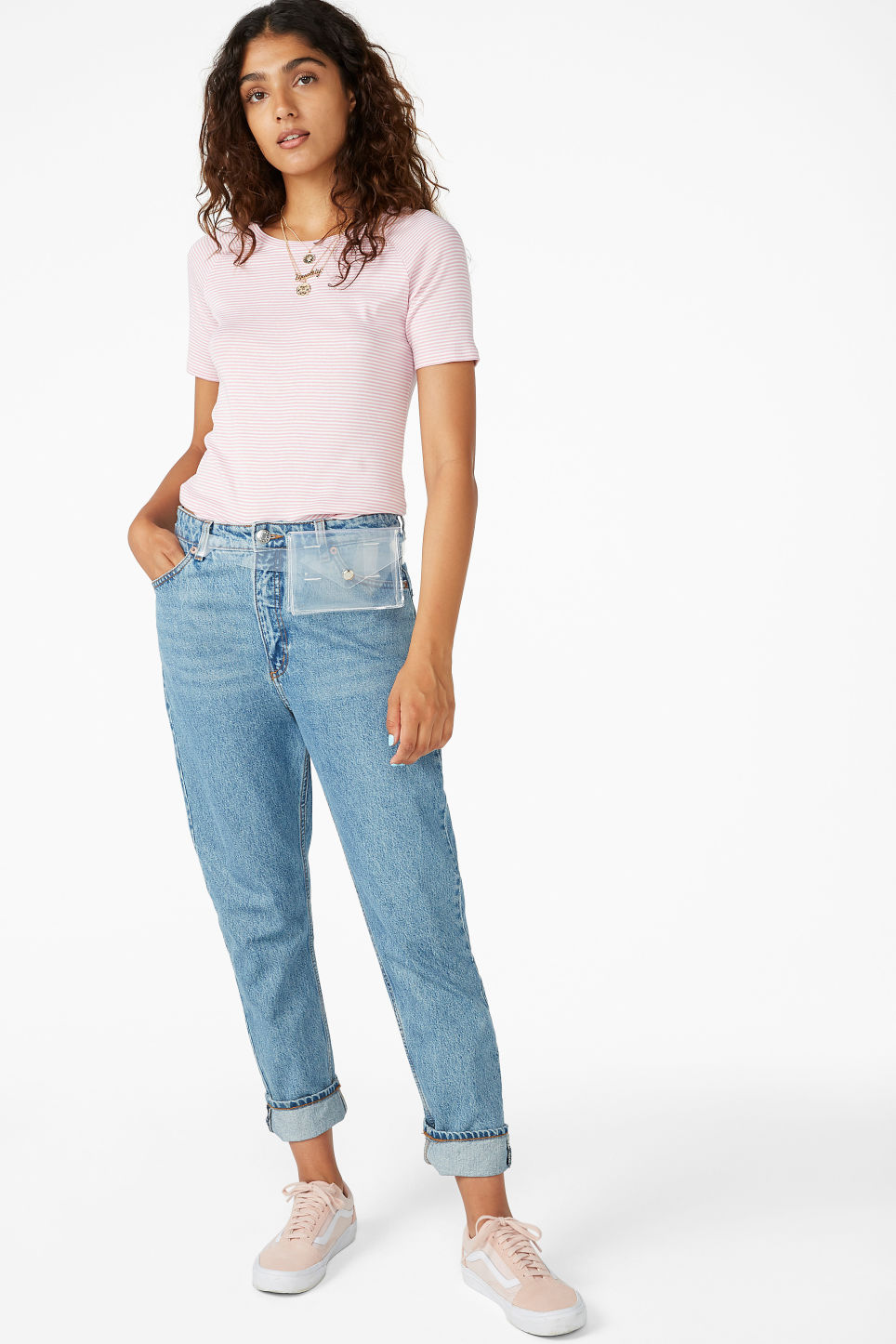 Model side image of Monki soft tee in pink
