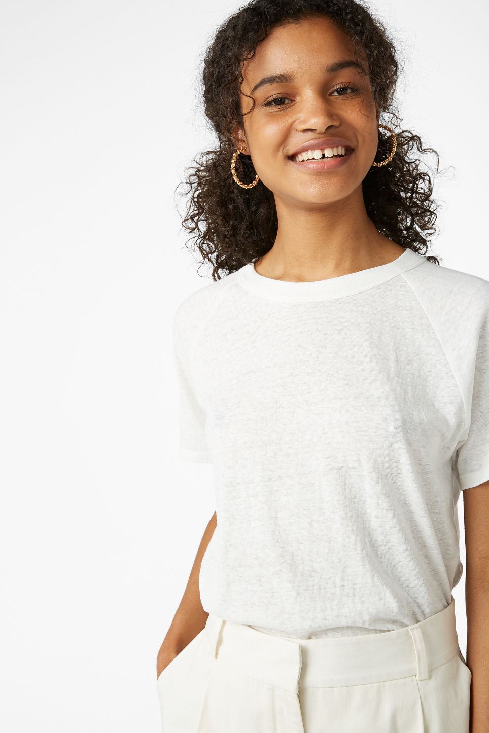 Model front image of Monki burnout wash tee  in white