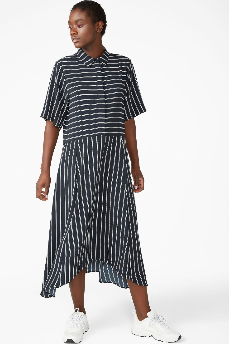 Model front image of Monki maxi dress in blue