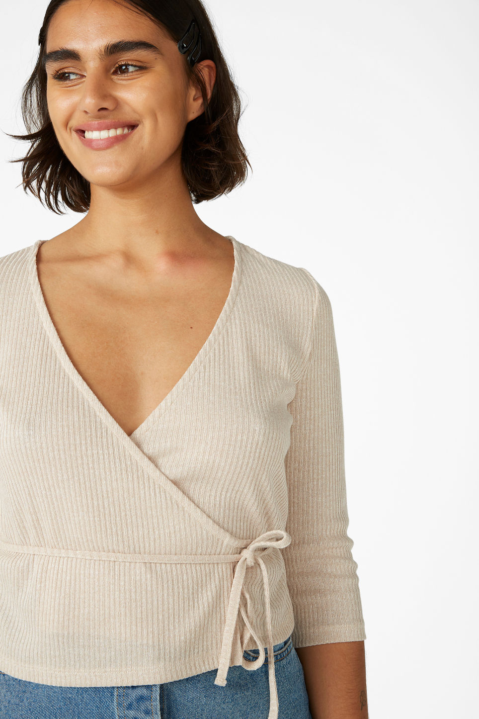 Model front image of Monki ribbed wrap top in beige