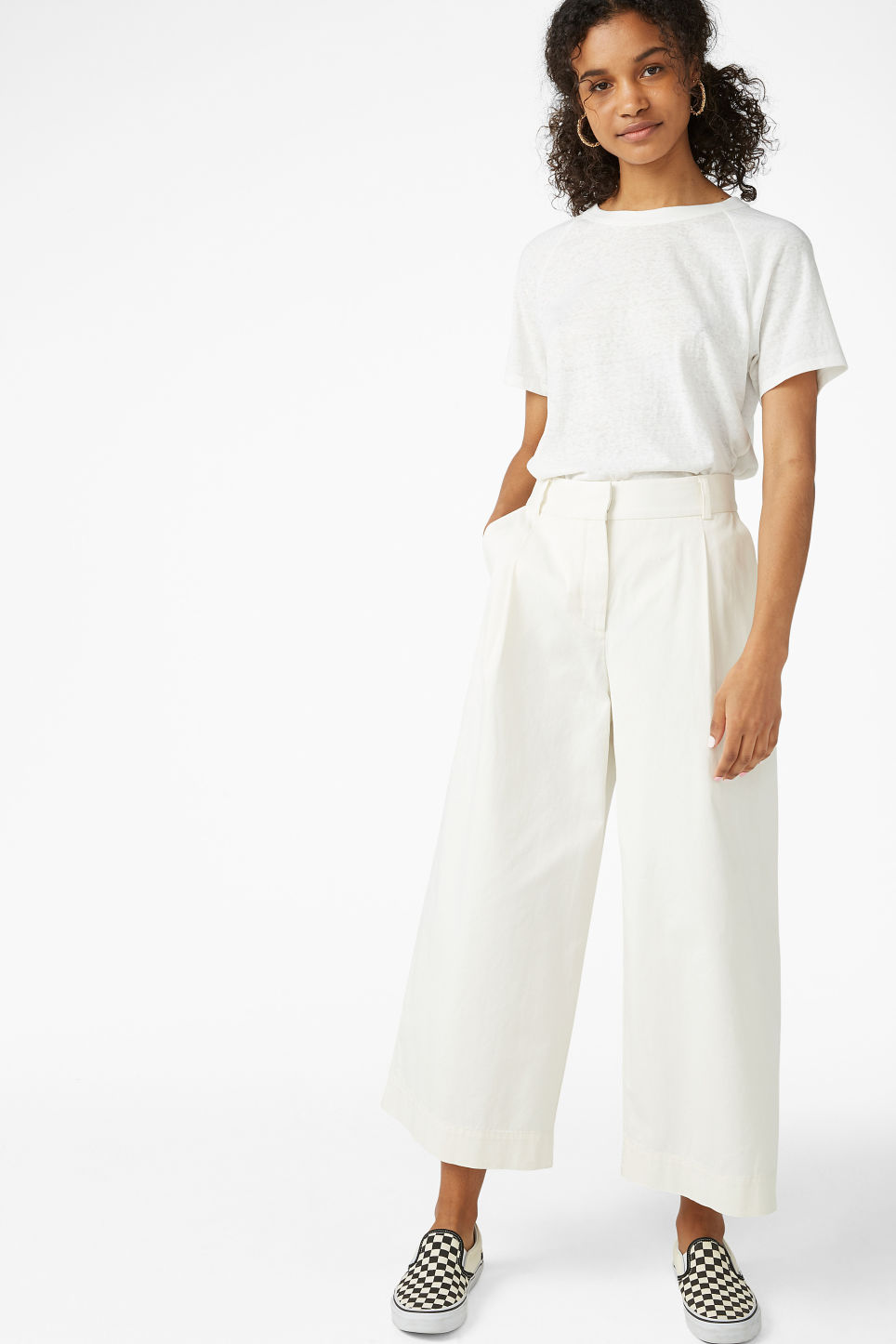 Model front image of Monki wide leg cotton trousers in white