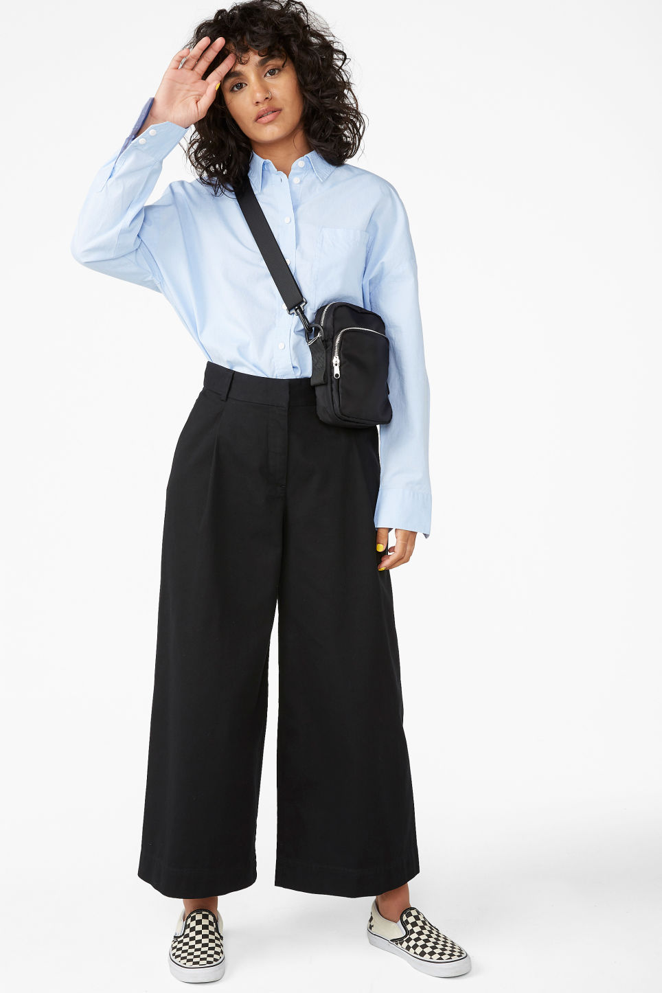 Model front image of Monki wide leg cotton trousers in black