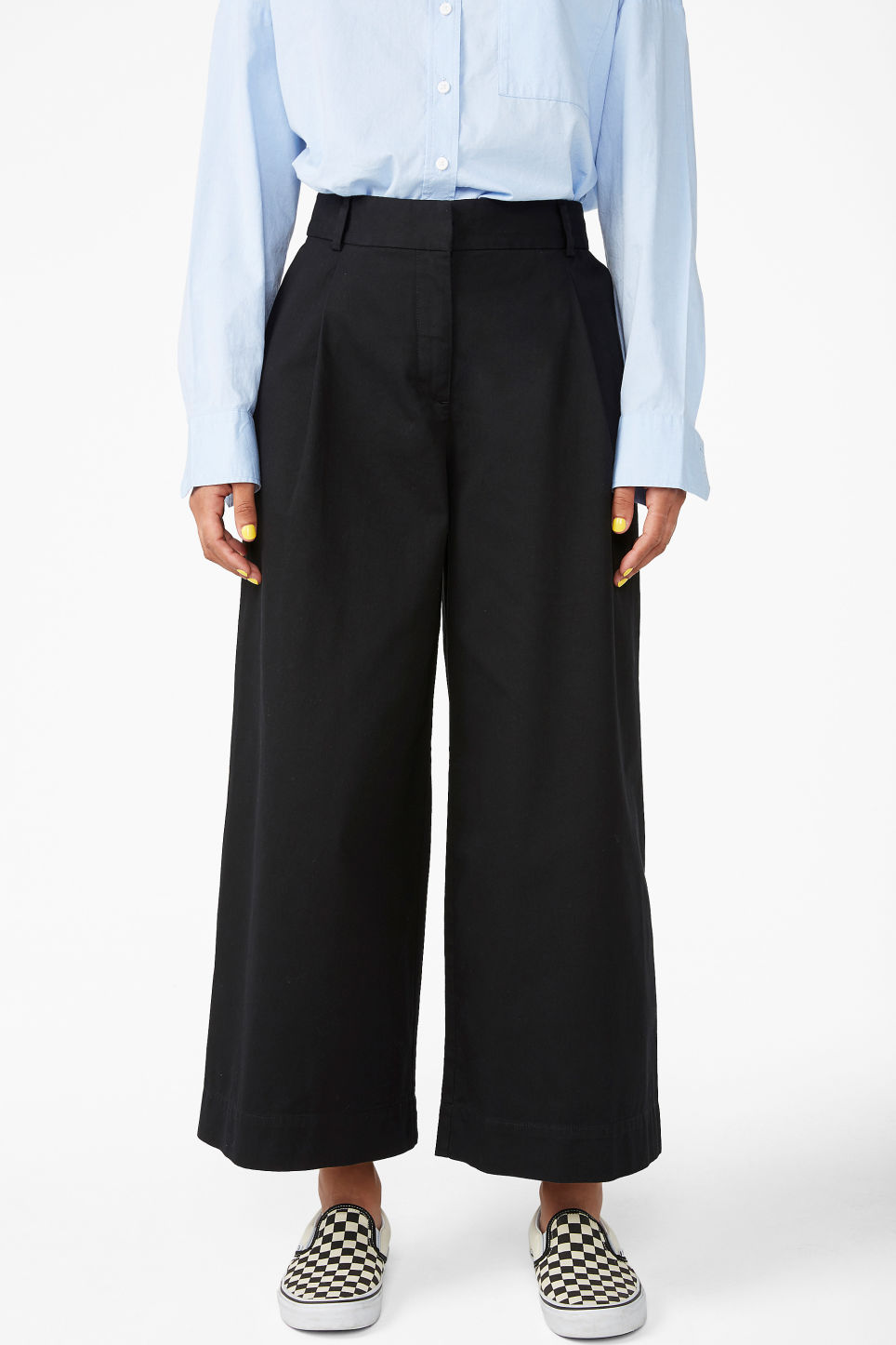 Model side image of Monki wide leg cotton trousers in black