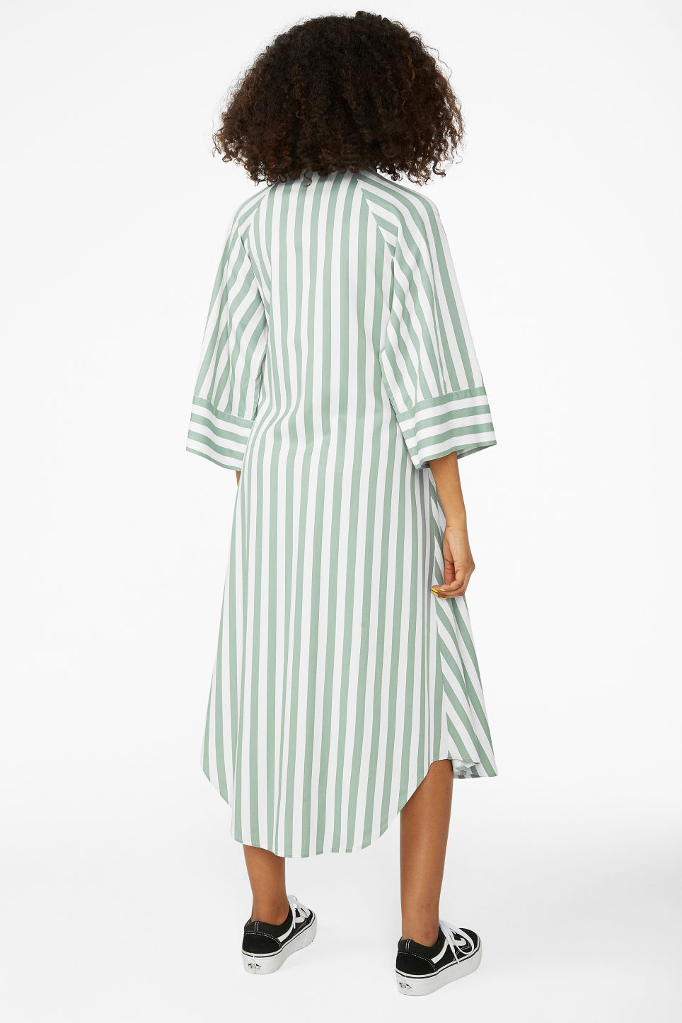 Model back image of Monki belted shirt dress in green