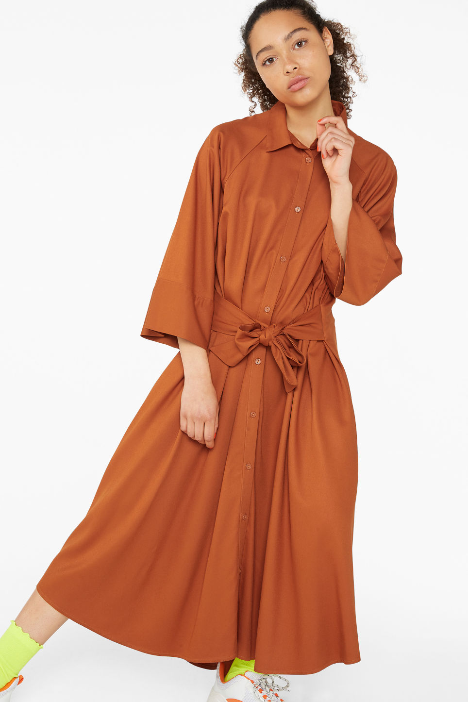 Model front image of Monki belted shirt dress in orange