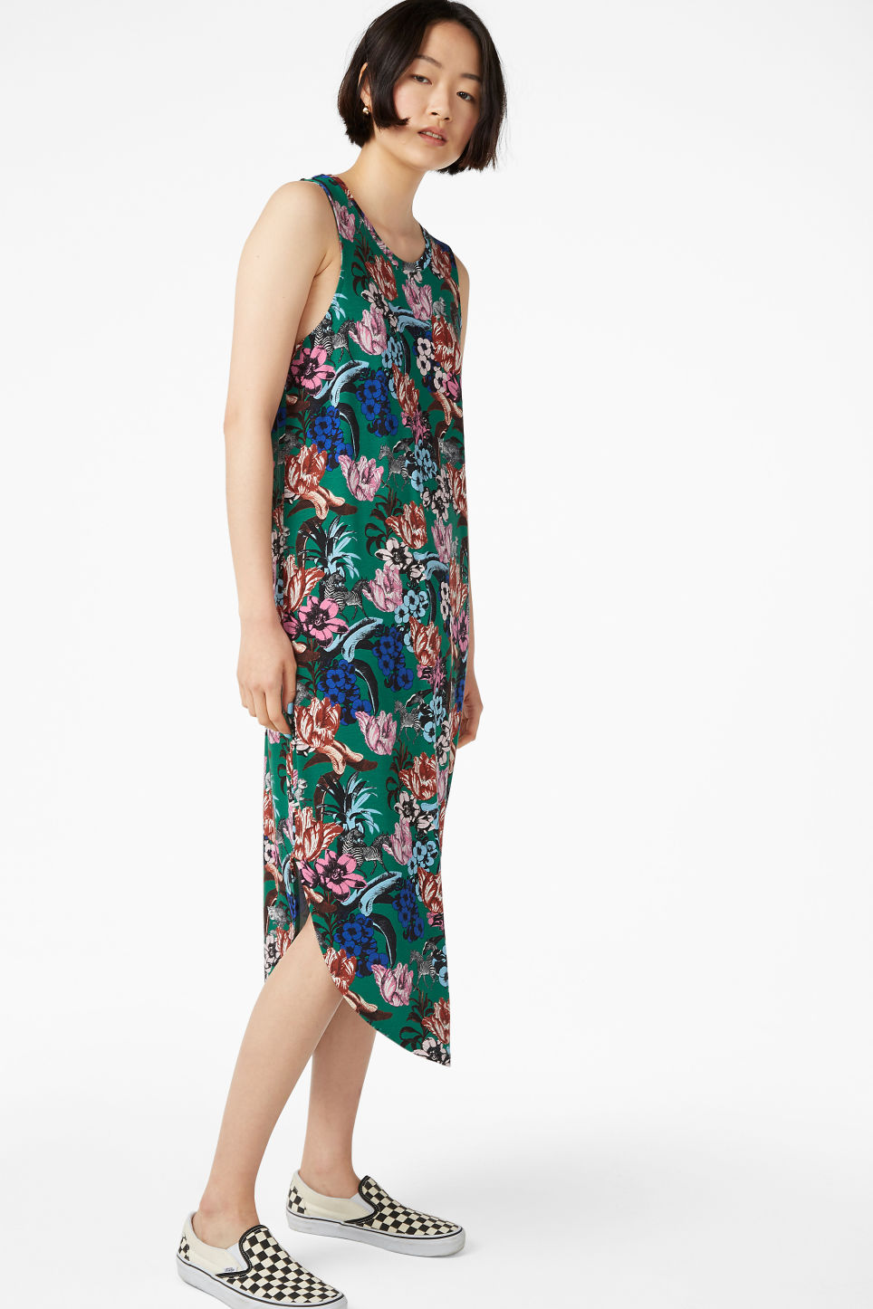 Model front image of Monki tank top dress in green