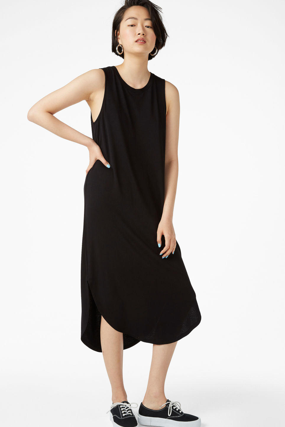 Model front image of Monki tank top dress in black