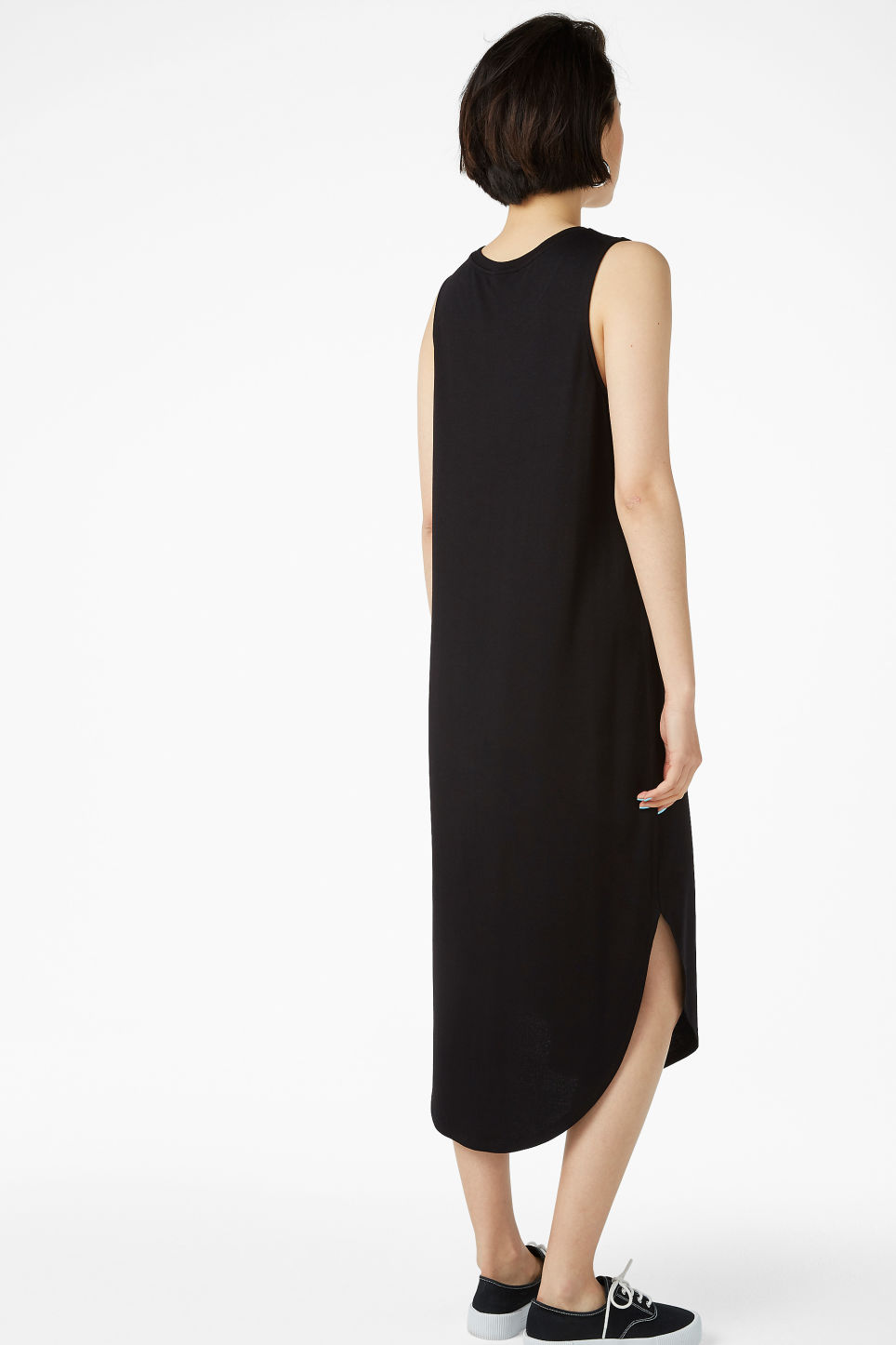 Model back image of Monki tank top dress in black