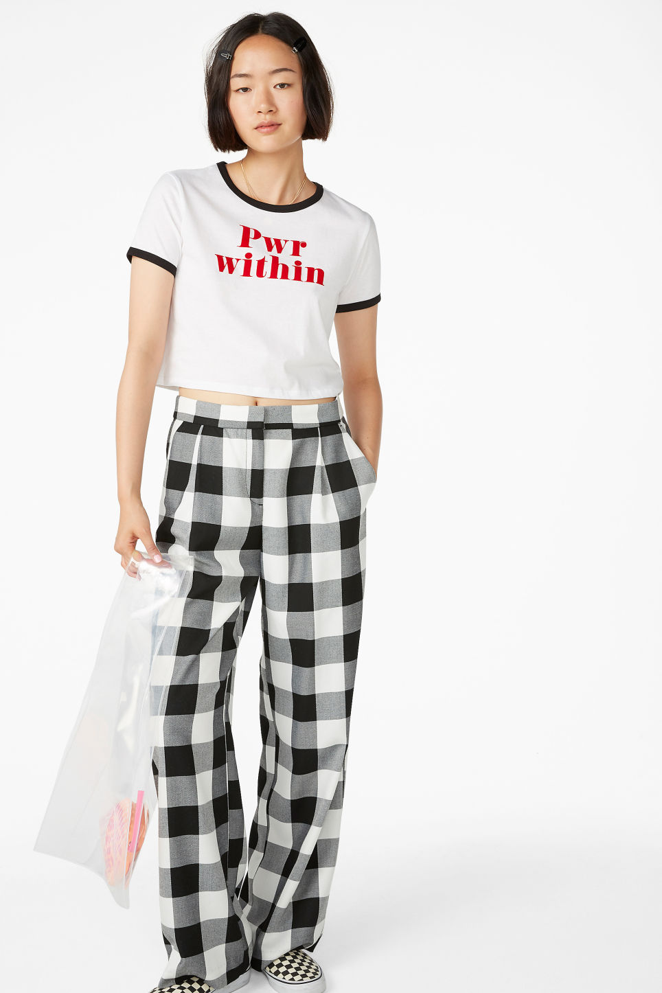 Model side image of Monki cropped tee in white