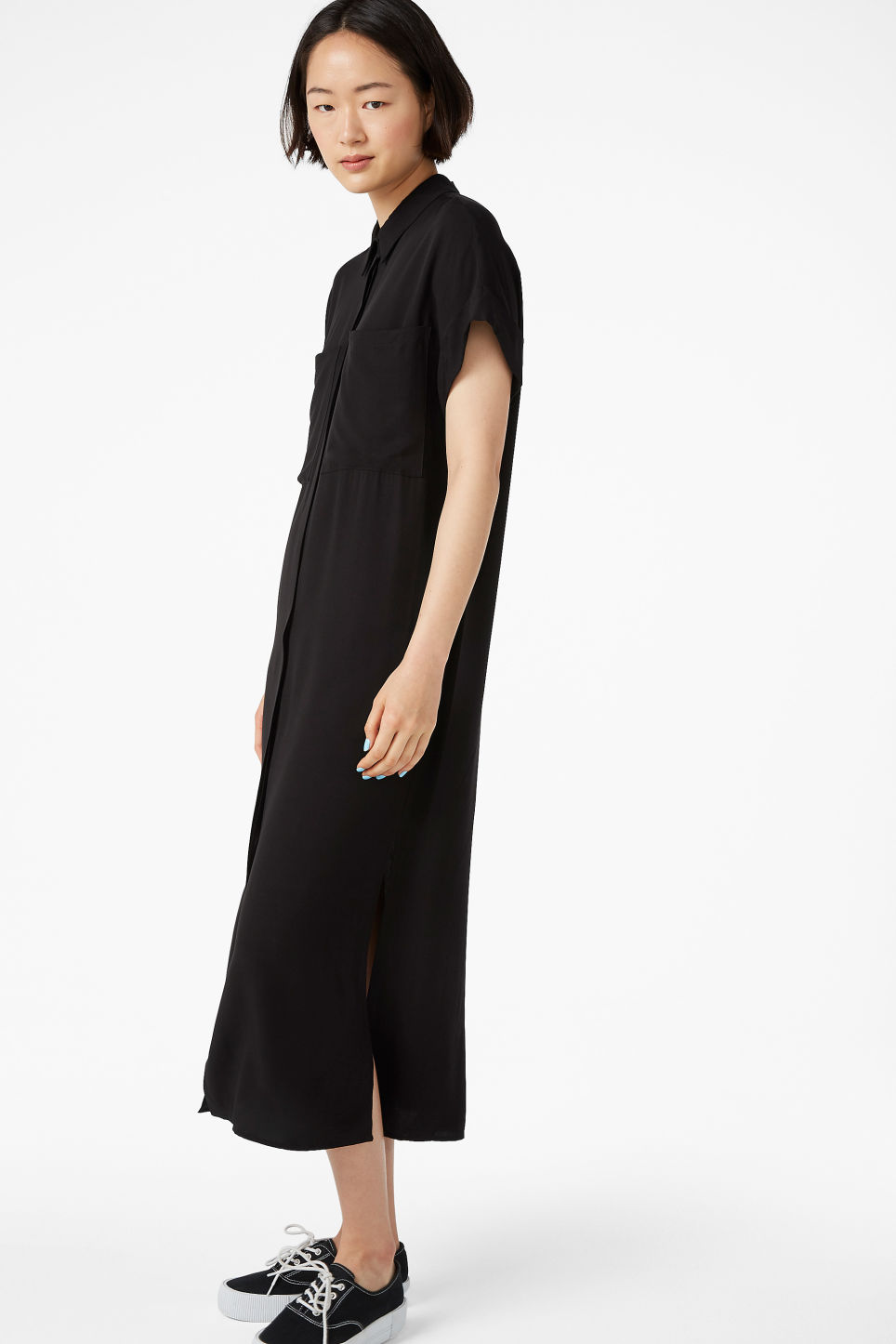 Model front image of Monki midi shirt dress in black