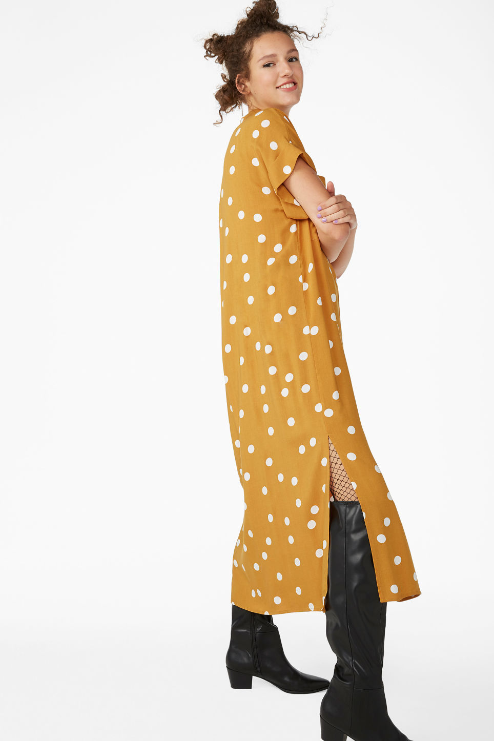 Model front image of Monki long shirt dress in yellow