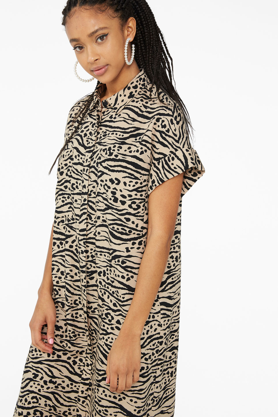 Model front image of Monki long shirt dress in beige