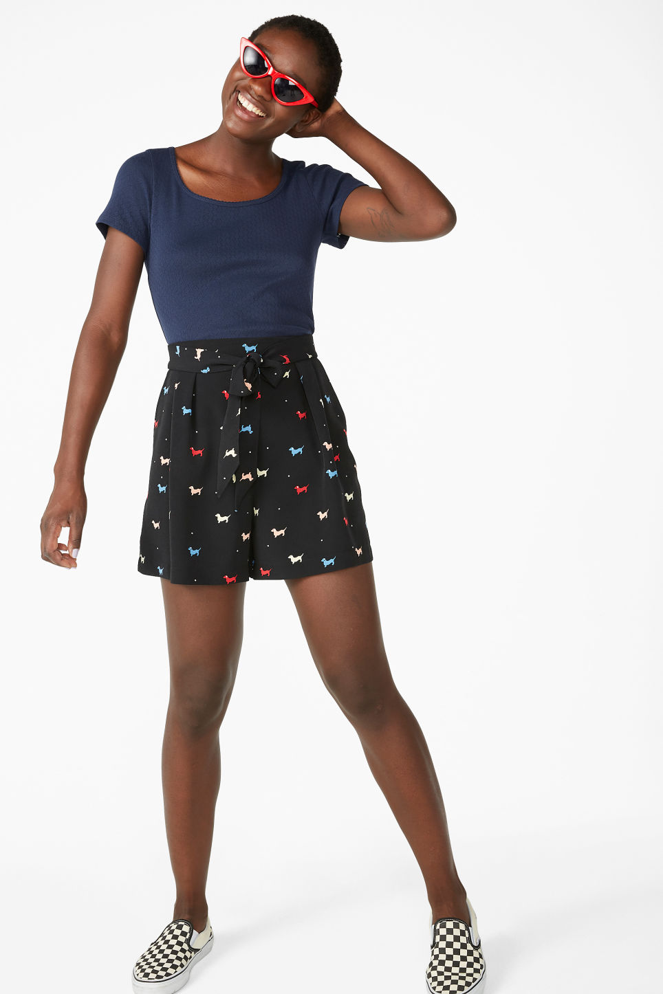 Model front image of Monki short-sleeved top with lace trims in blue