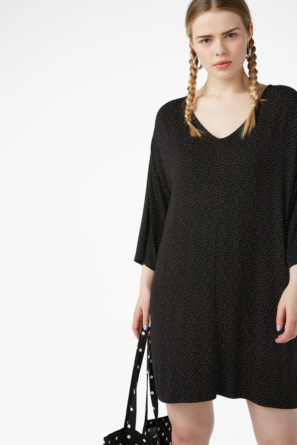 Model front image of Monki v-neck dress in black