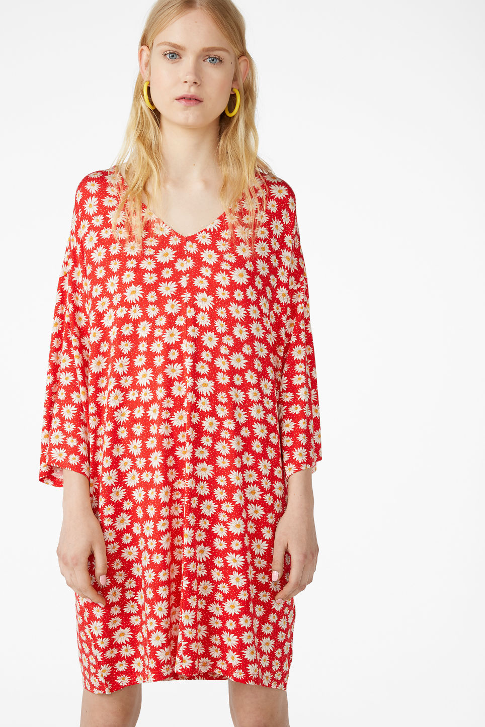 Model front image of Monki v-neck dress in red