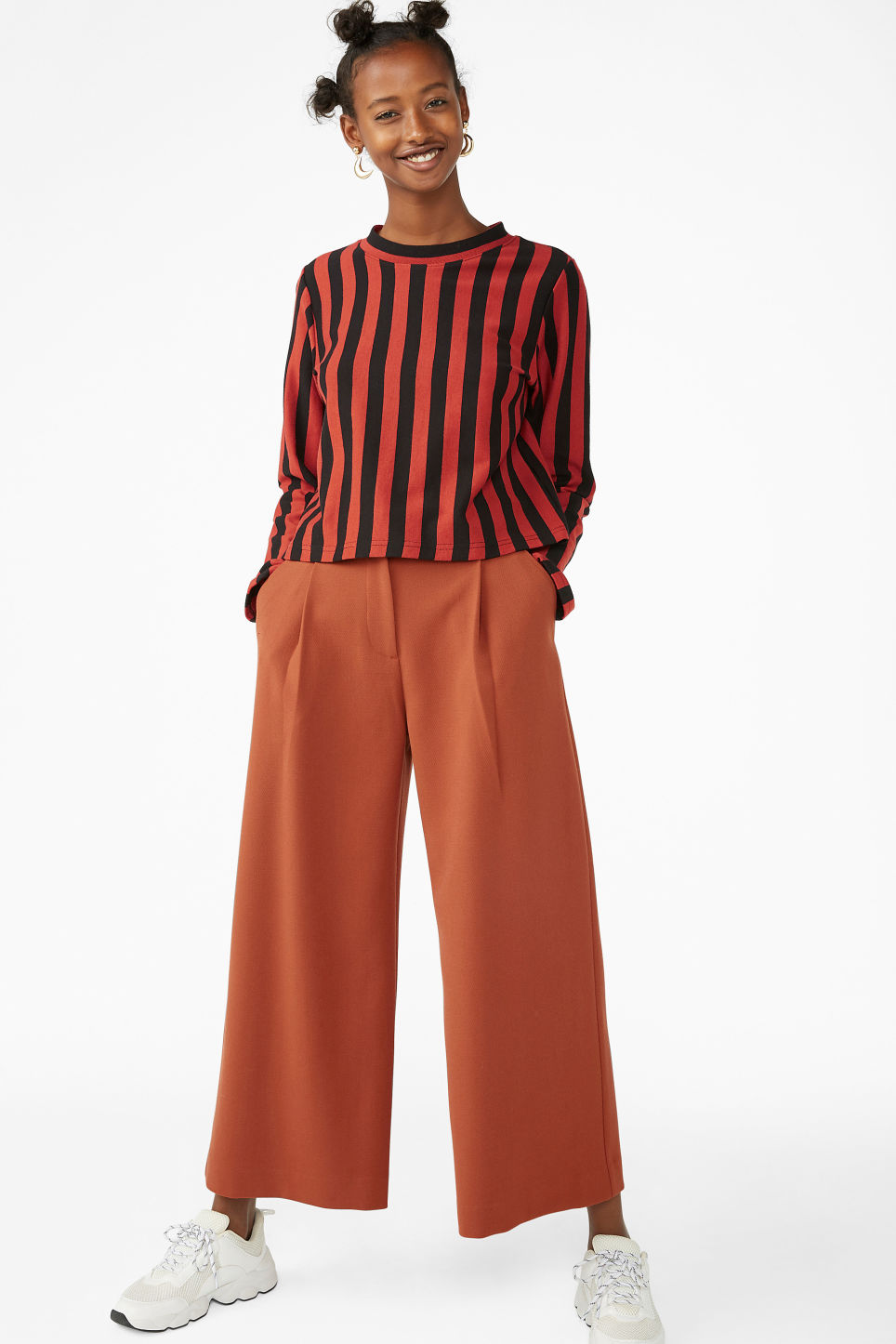 Model side image of Monki wide fit top in orange