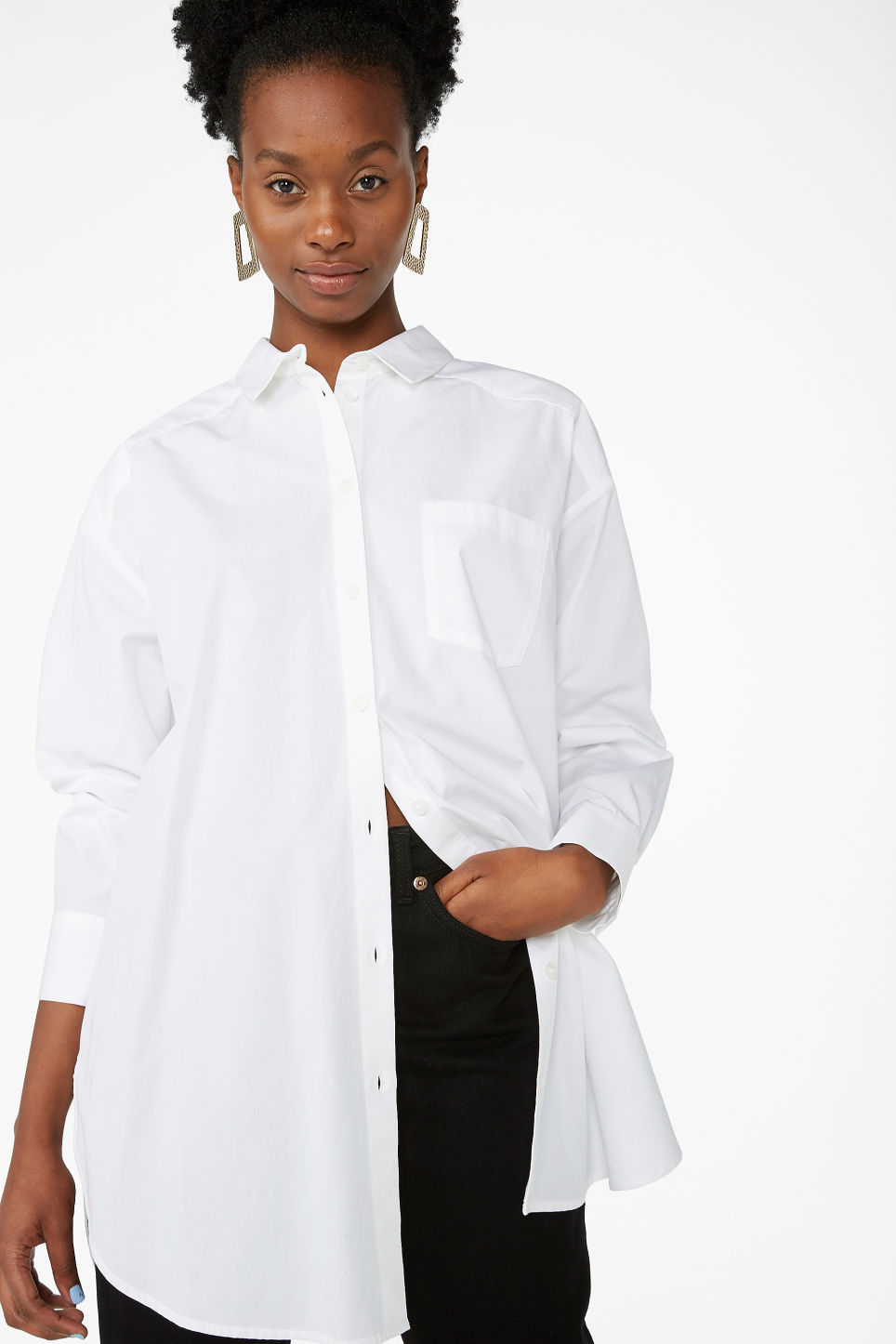Model front image of Monki oversized shirt in white