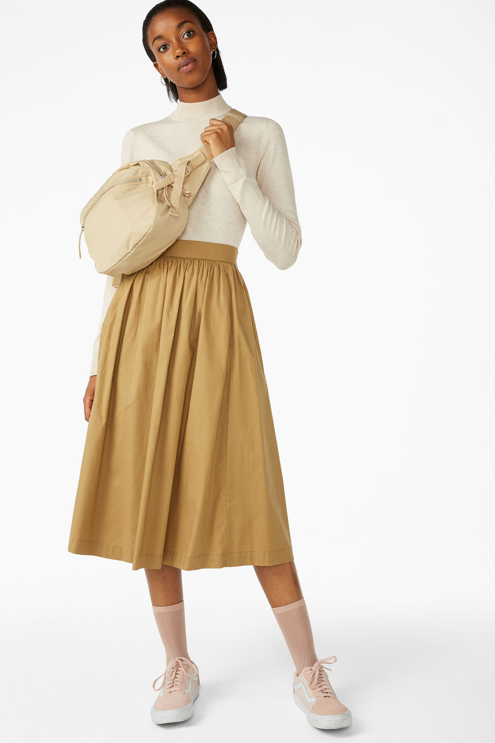 Model front image of Monki midi skirt in beige