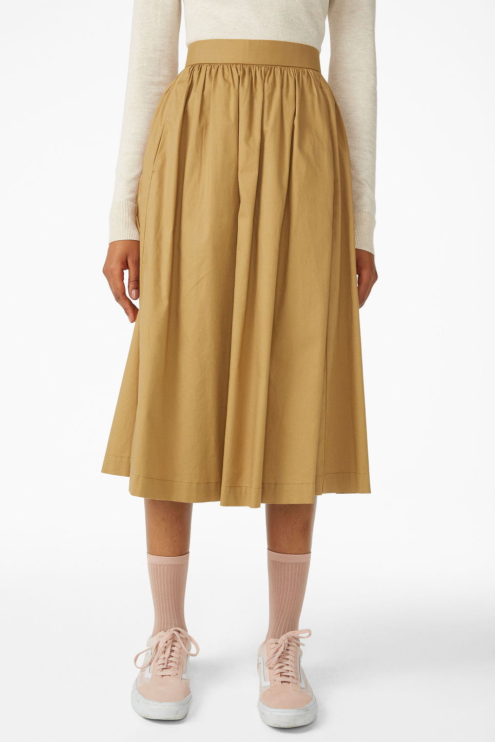 Model side image of Monki midi skirt in beige