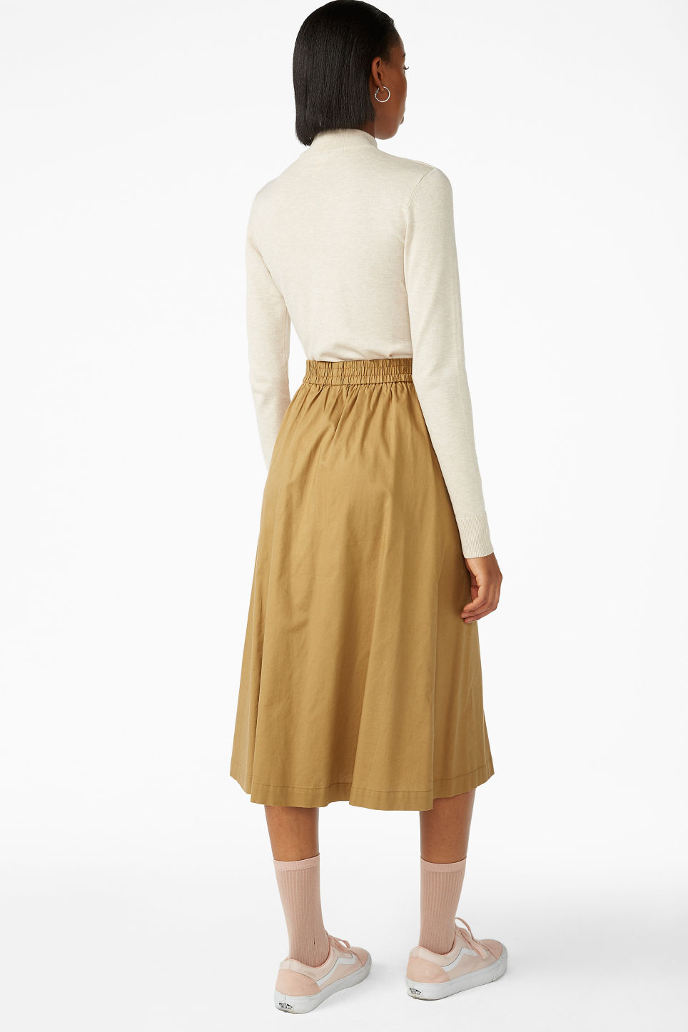 Model back image of Monki midi skirt in beige