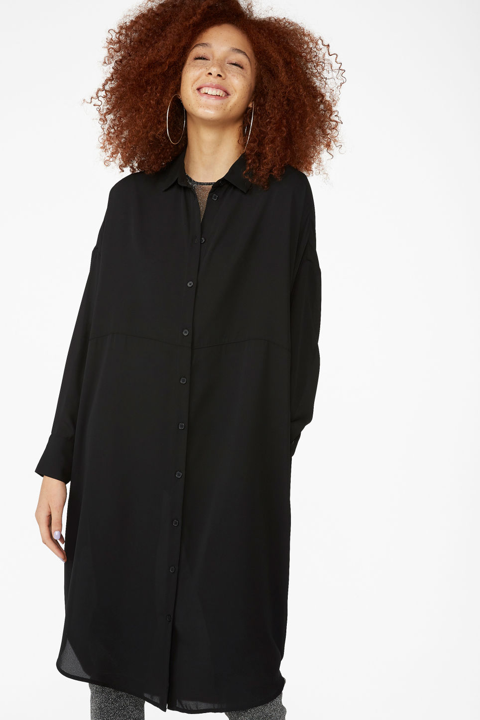 Model front image of Monki button-up shirt dress in black