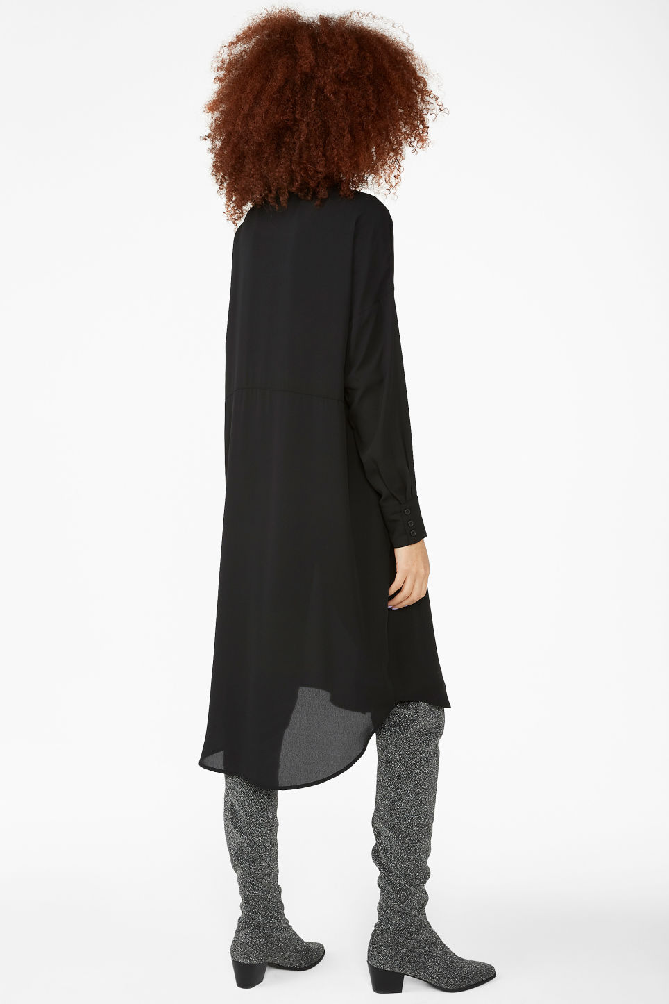Model back image of Monki button-up shirt dress in black
