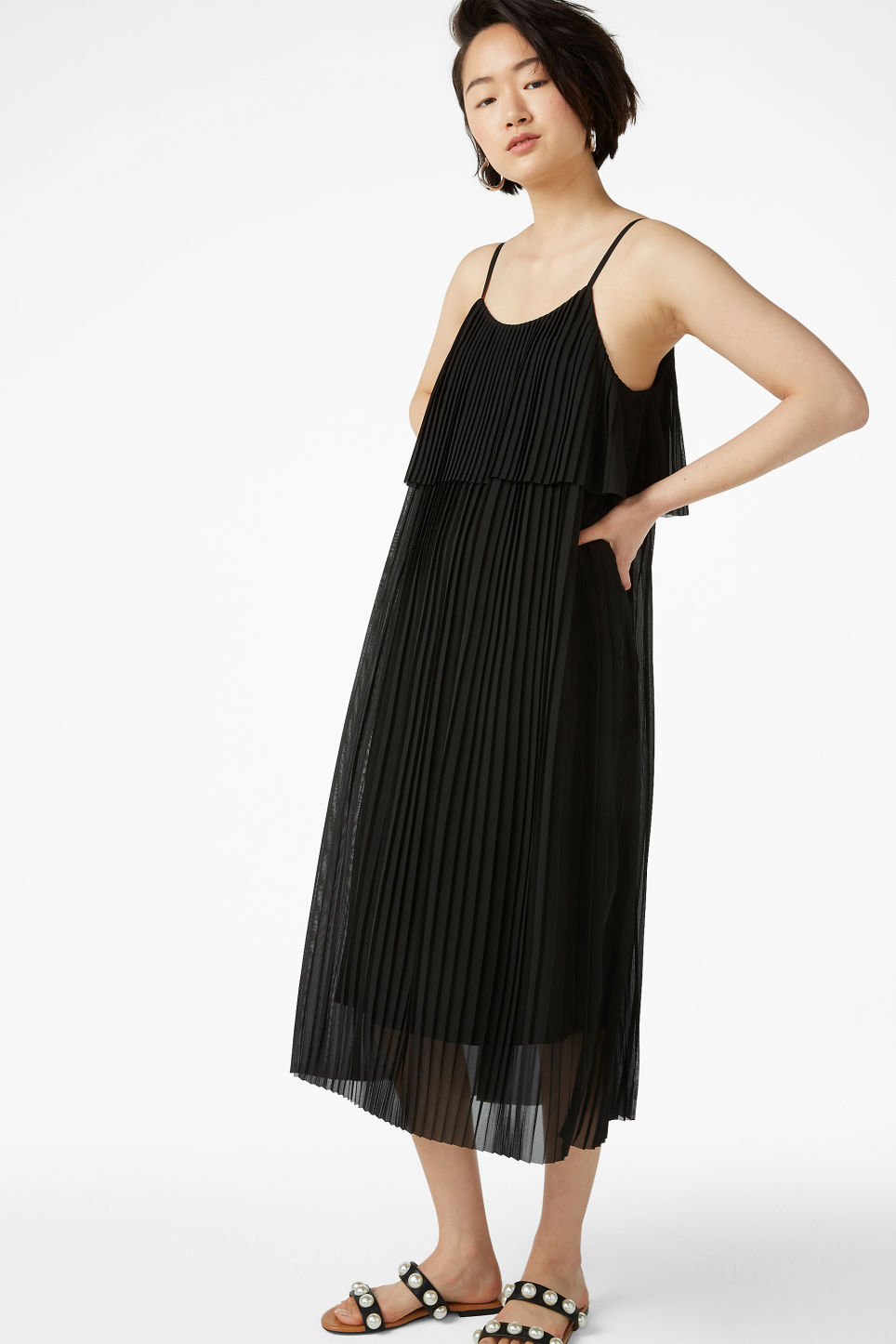 Model front image of Monki plissé slip dress in black