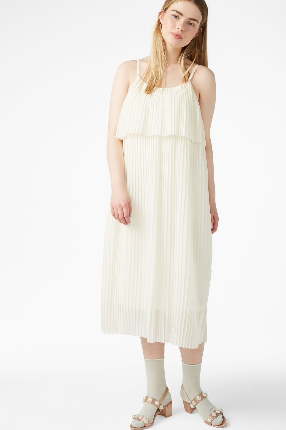 Model front image of Monki plissé slip dress in white