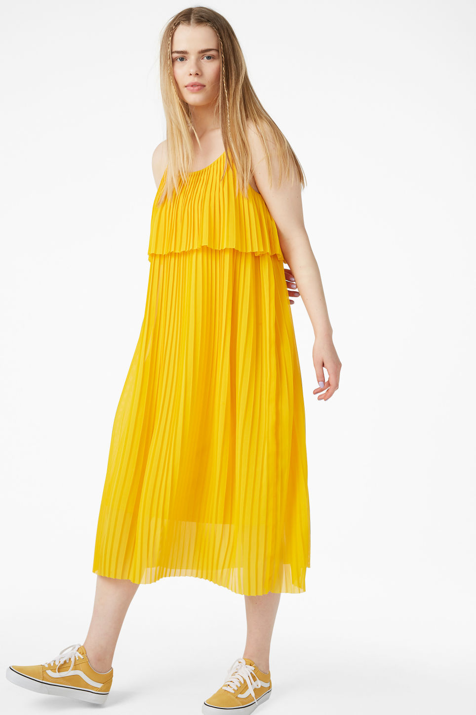 Model front image of Monki plissé slip dress in yellow