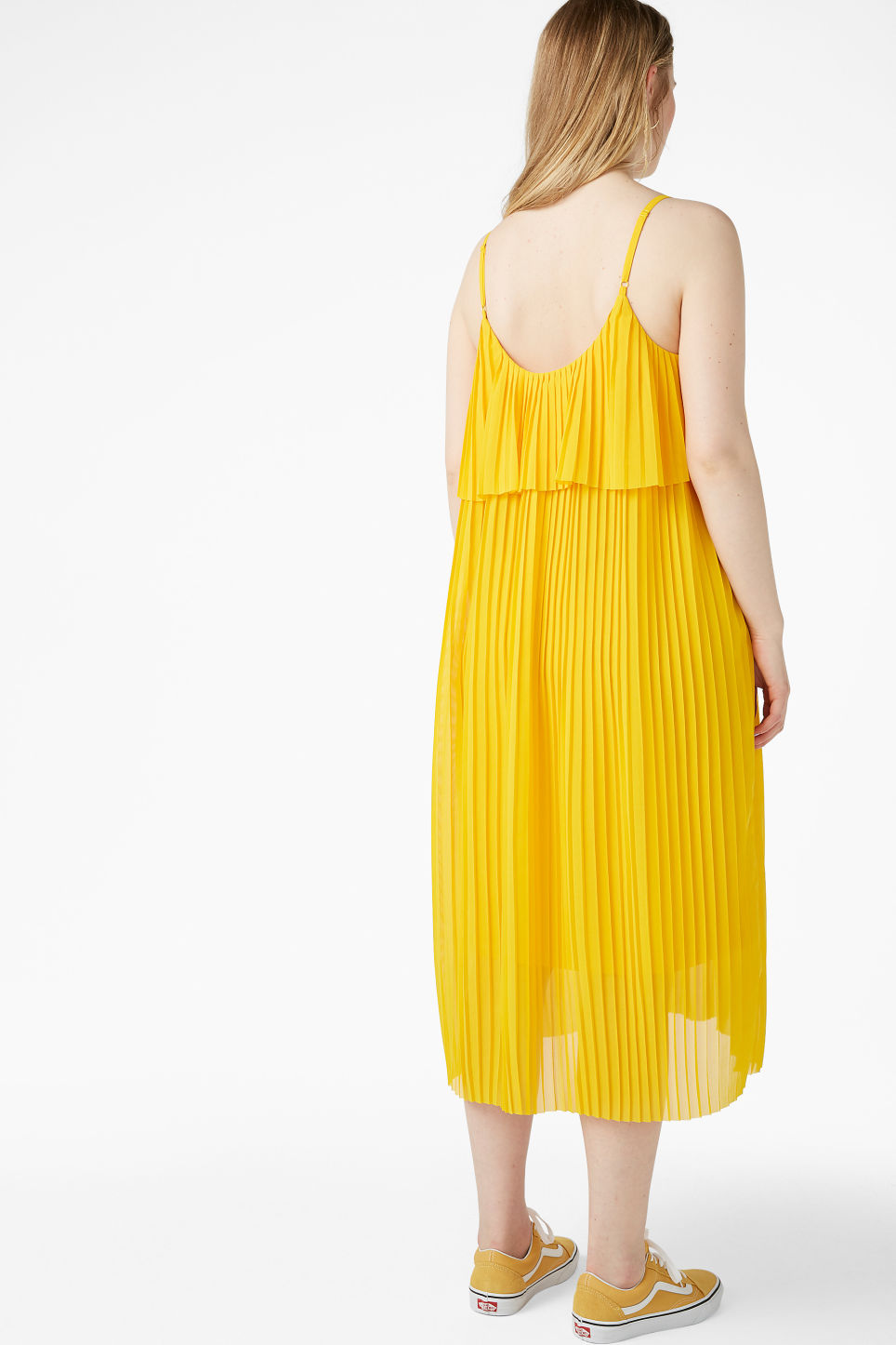 Model back image of Monki plissé slip dress in yellow