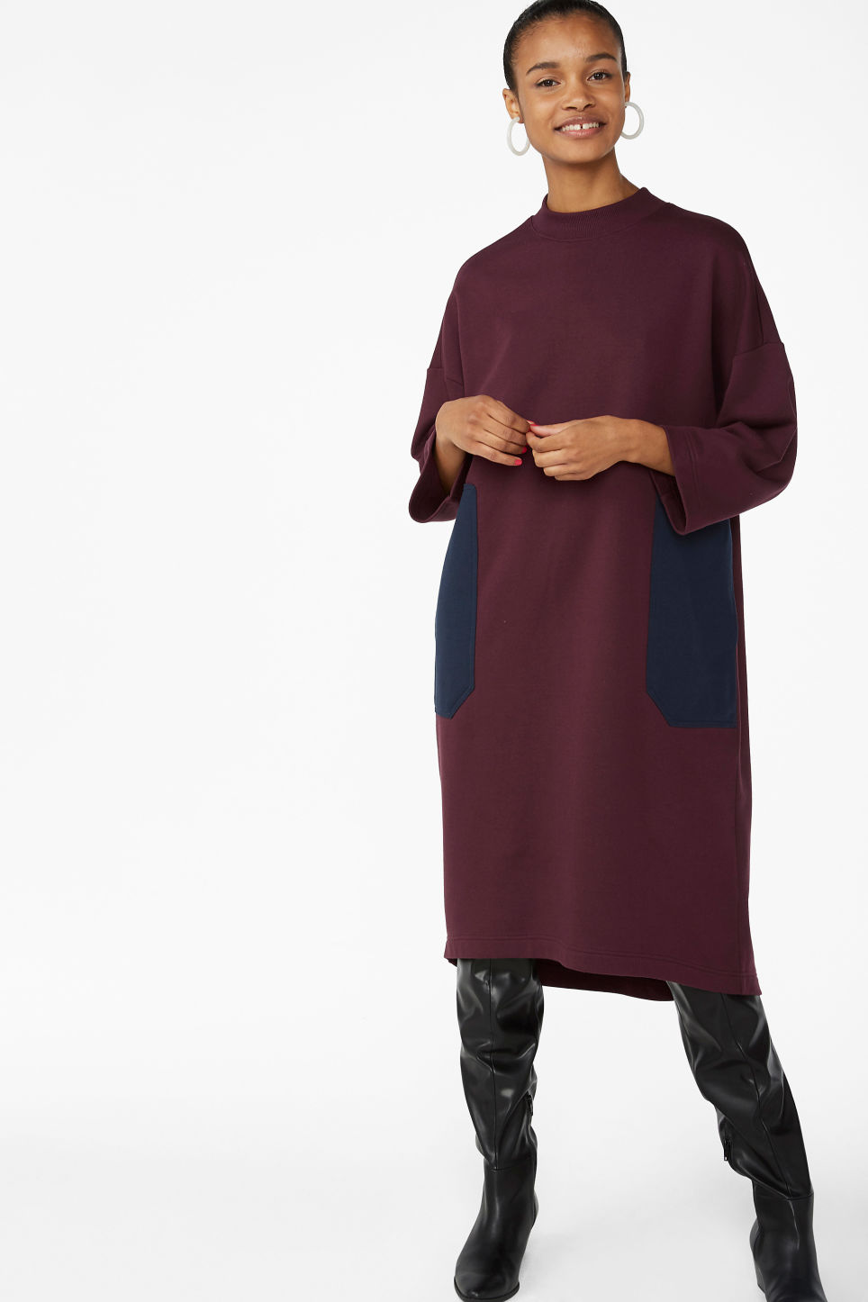 Model front image of Monki sweater dress in red