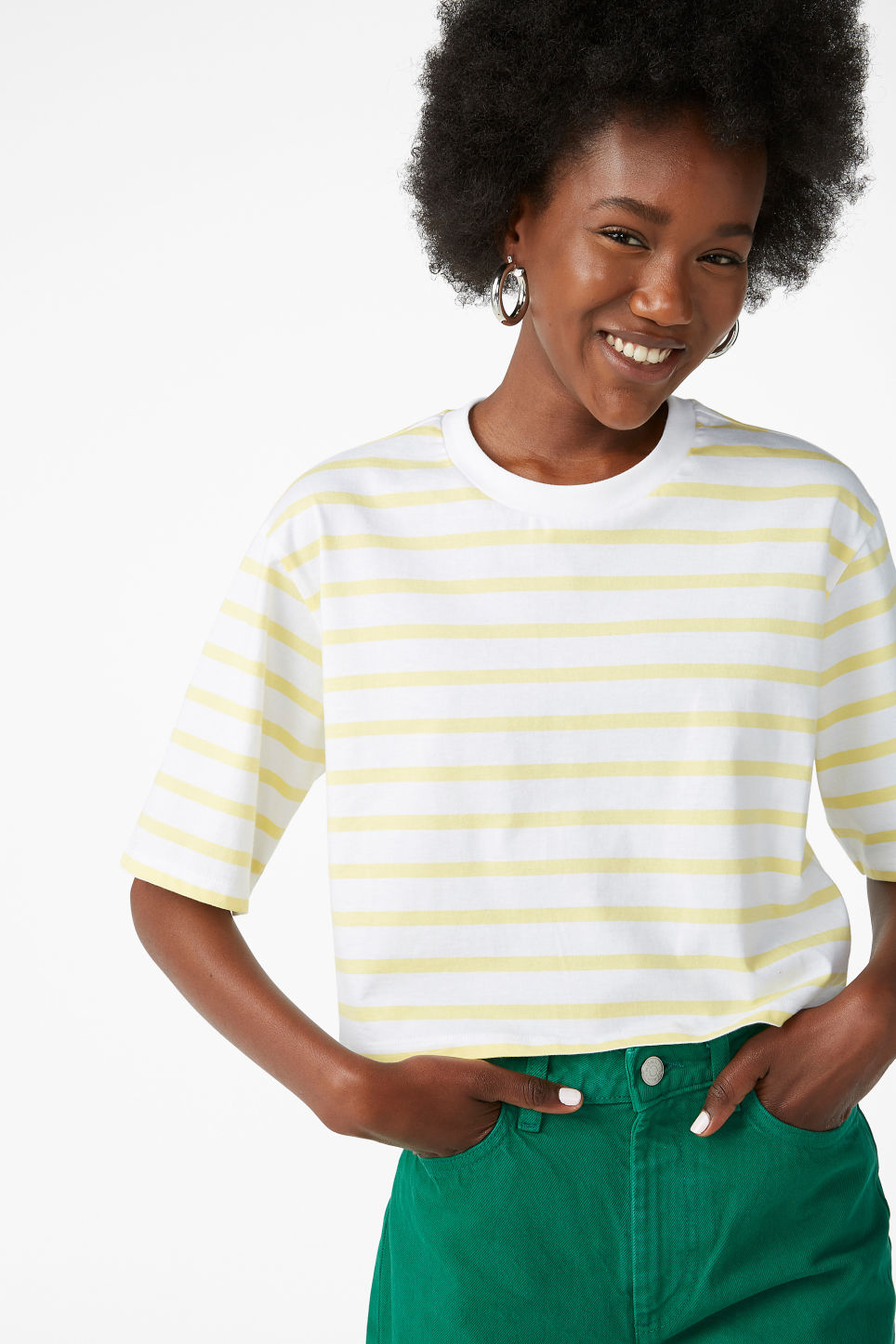 Model front image of Monki cropped retro tee in yellow