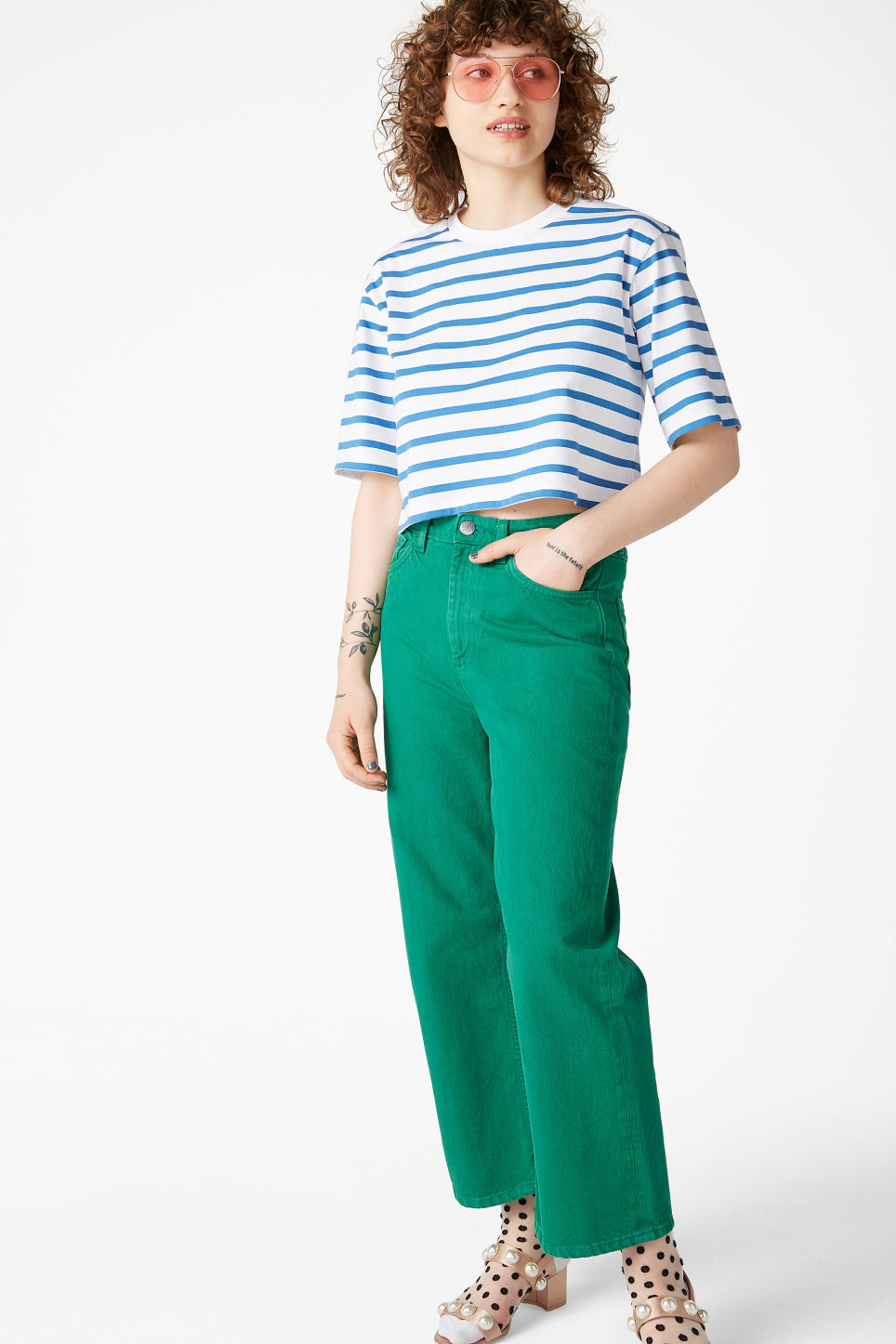 Model side image of Monki cropped retro tee in blue