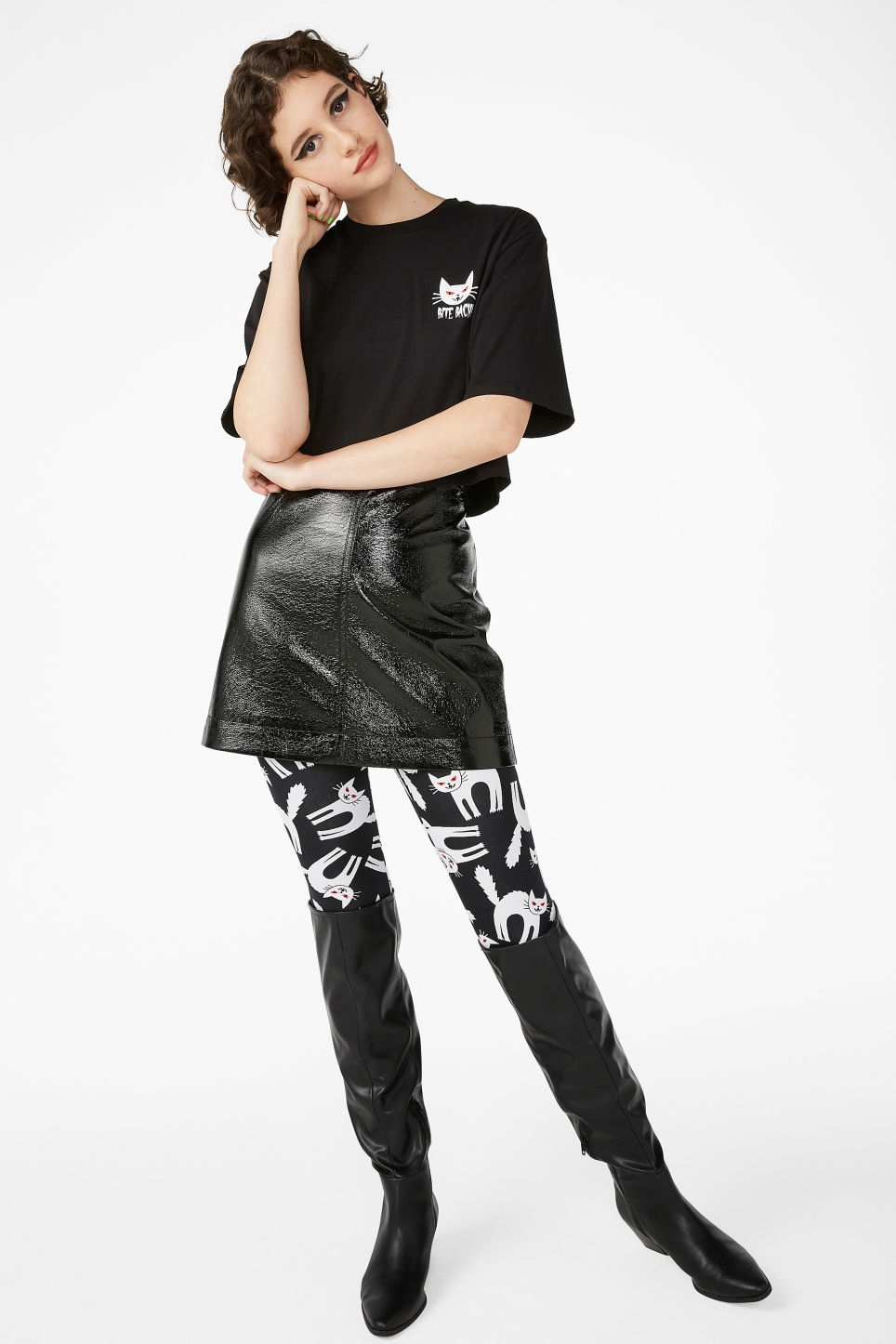 Model side image of Monki cropped tee in black