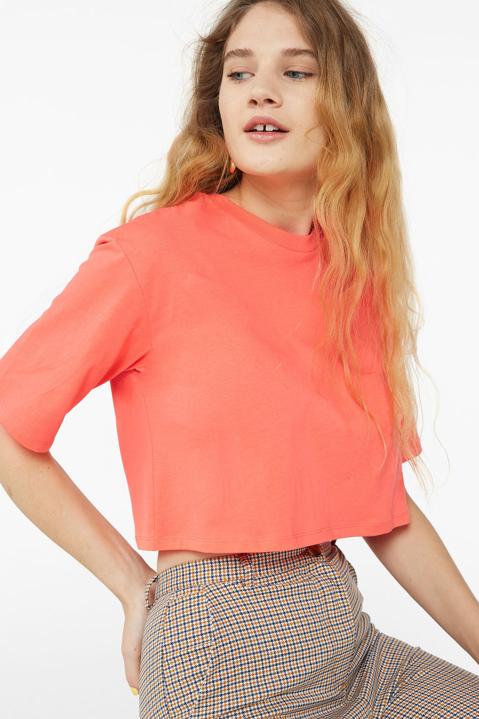 Model front image of Monki cropped retro tee in orange