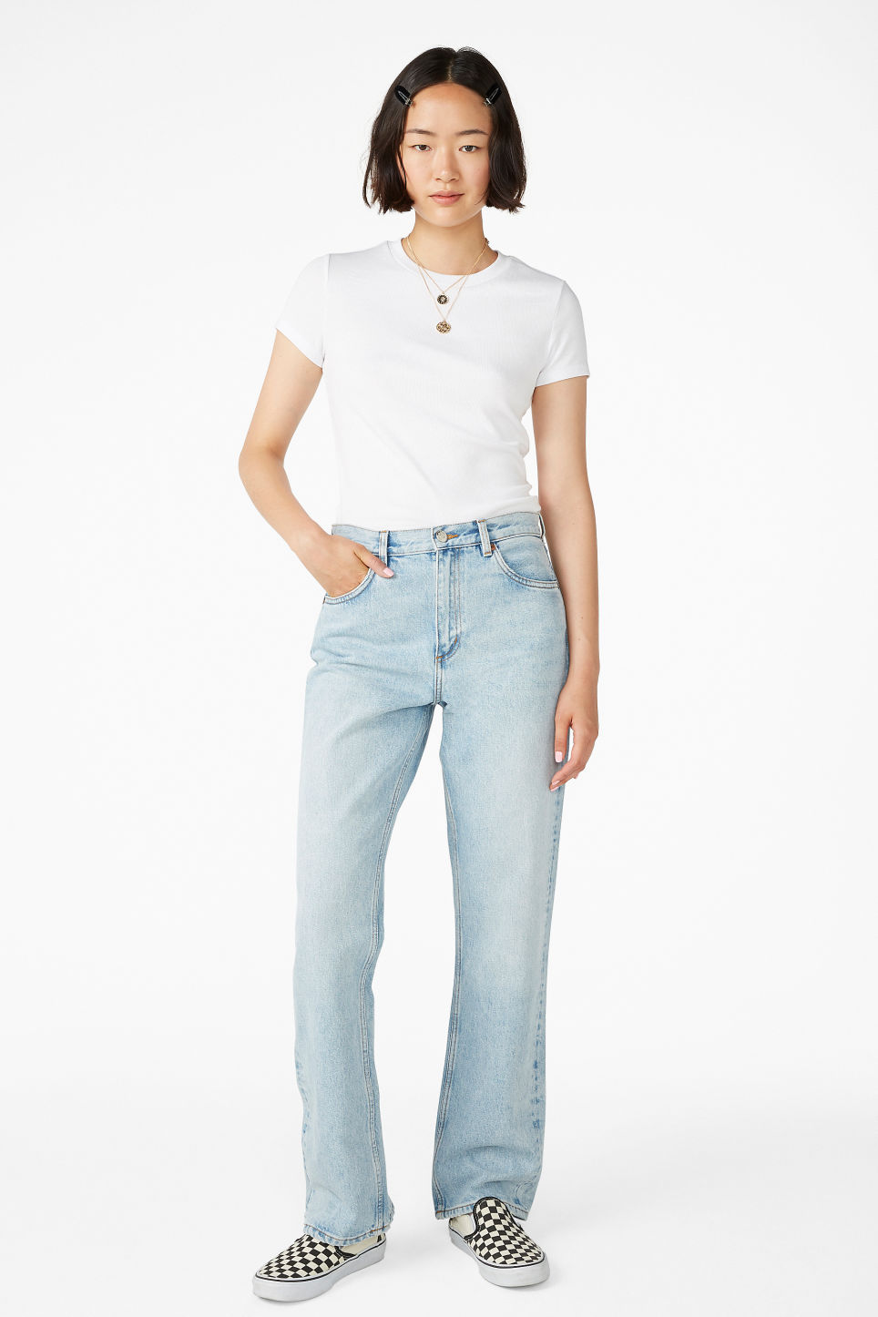 Model front image of Monki kyo light blue in blue