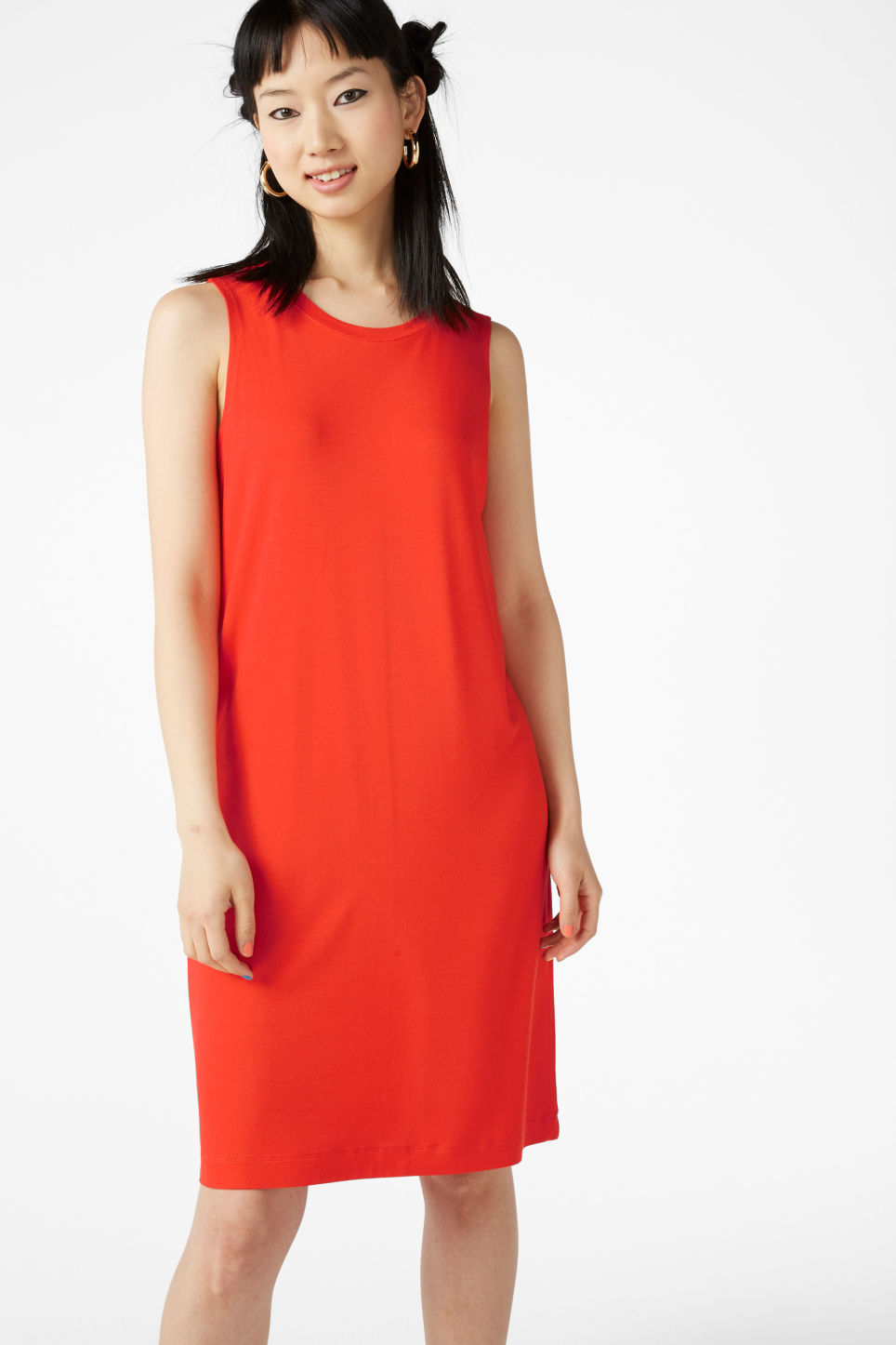 Model front image of Monki sleeveless dress in orange