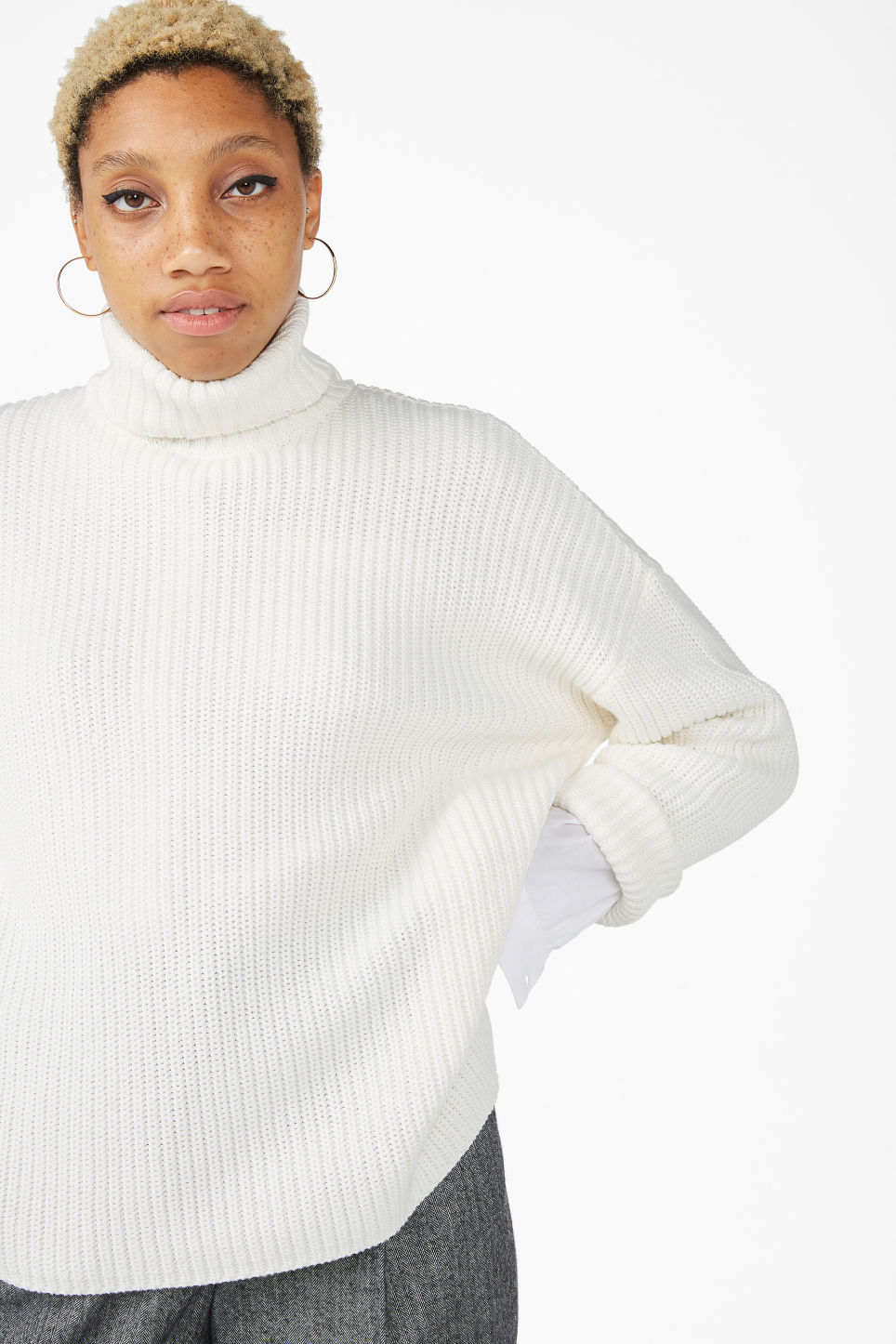 Model front image of Monki knitted turtleneck sweater in white