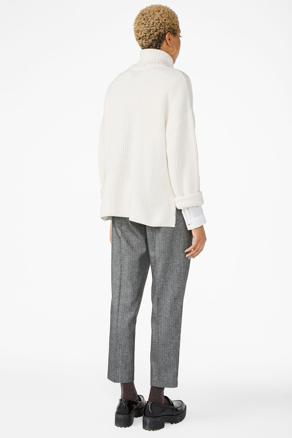 Model back image of Monki knitted turtleneck sweater in white