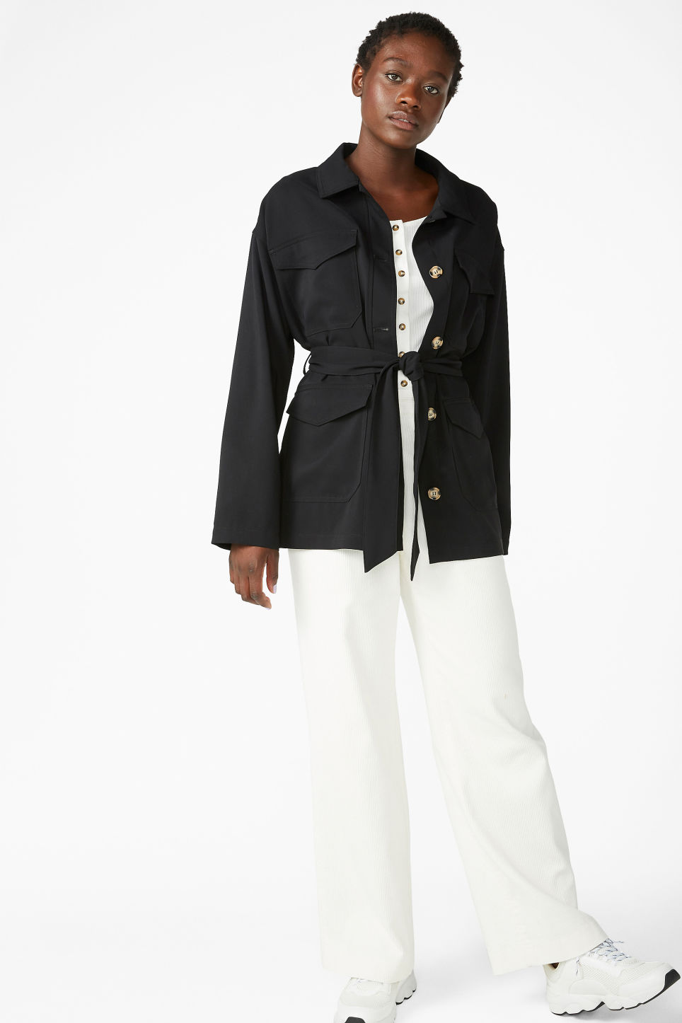 Model front image of Monki belted jacket in black