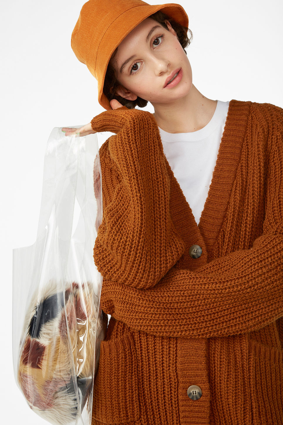 Model front image of Monki oversized chunky cardigan in orange